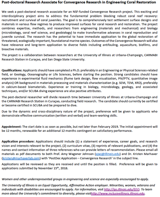 Post-doc and grad position openings