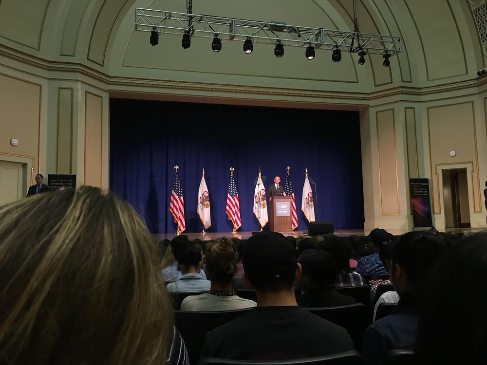 President Barack Obama in Foellinger Auditorium