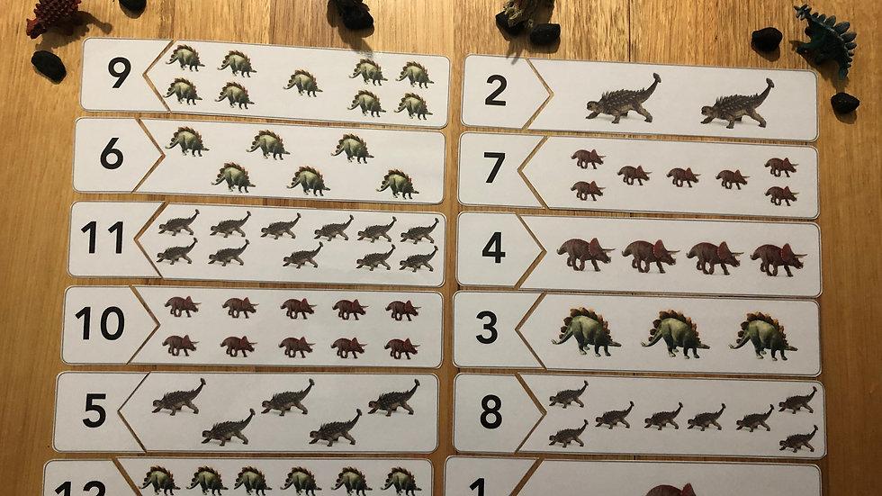 1 - 12 Dinosaur Numeracy Puzzle