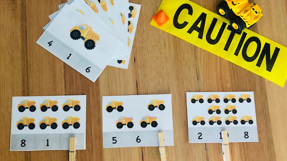 Numeracy Cards (1 - 20) - Construction
