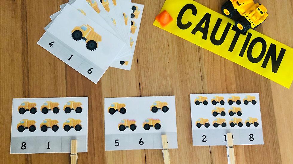Numeracy Cards (1 - 20) - Construction
