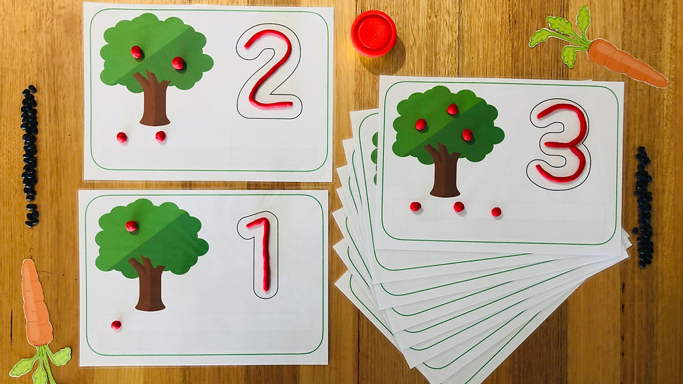 Fruit Tree Play Dough Mats