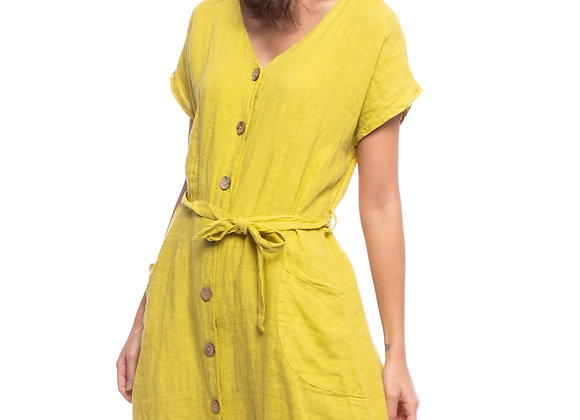 Robe-chemise, manches courtes lin Linda