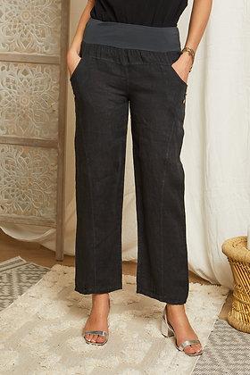 Pantalon Louisa 100 % lin taille haute- 436