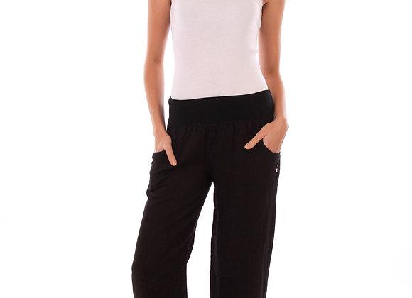 Pantalon lin long, taille élastique,  manches 3/4, col carré.