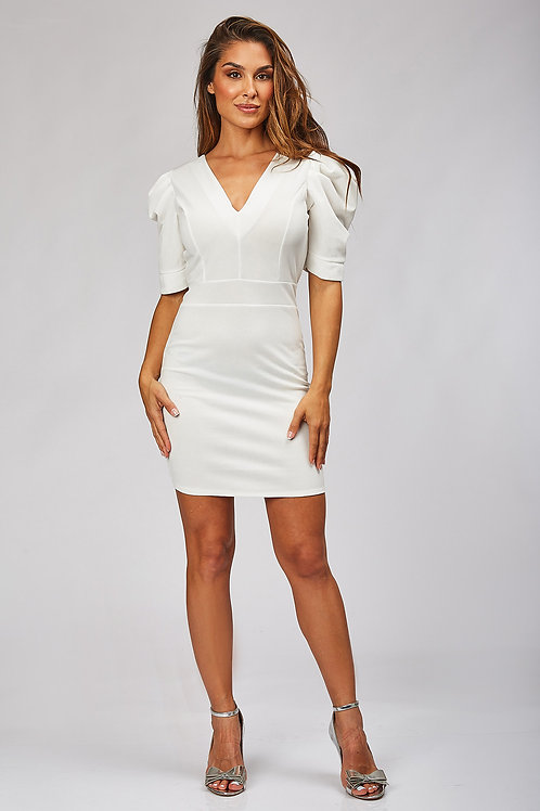Robe cocktail manches courtes bouffantes