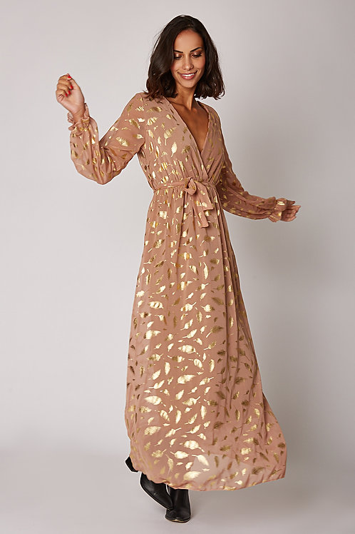 Robe longue bicolore  Finitions à sequins gold,