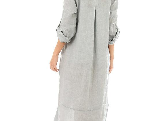 Robe chemise longue, manches retroussables avec patte de boutonnage, fermeture boutonnage dans le devant, fente sur les côtés