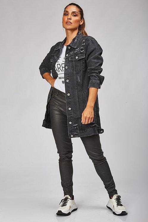 Veste en jean longue femme noir