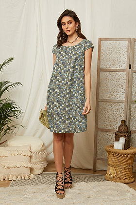 Robe courte imprimée en lin - 98135