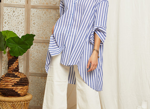 Chemise oversize à rayure ample - P13G