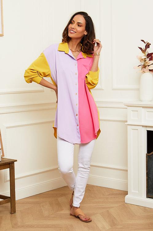 Chemise tunique à color block