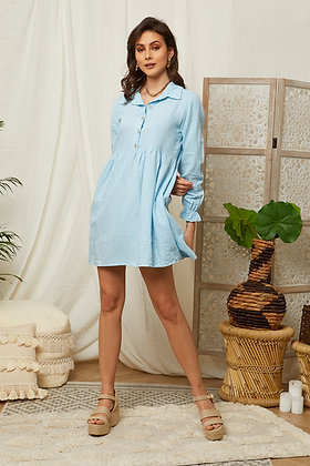 Robe col chemise en lin - 99722