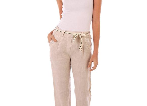 Pantalon Lucie taille haute, ceinture en tissu, poches pailletés