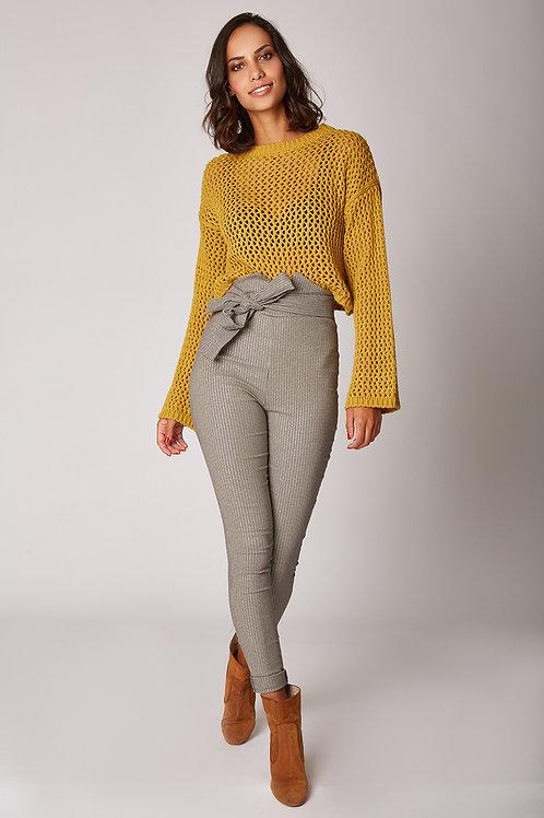 Pantalon taille haute à rayures 11057