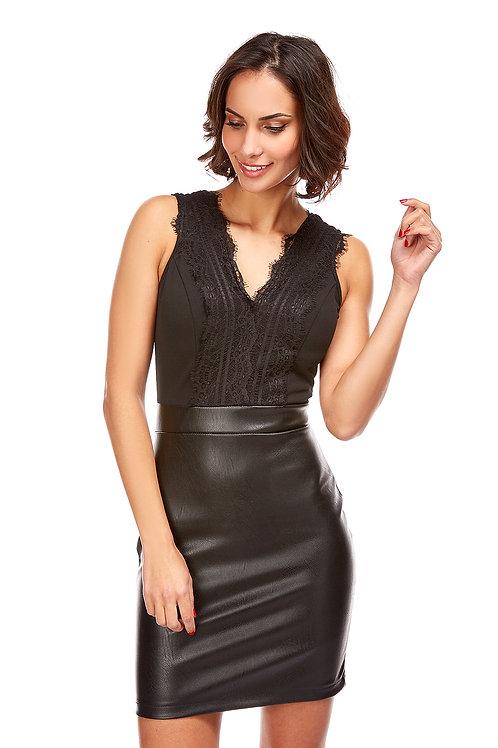 Robe courte avec col en V sans manches, bas simili cuir, fermeture éclair dans le dos