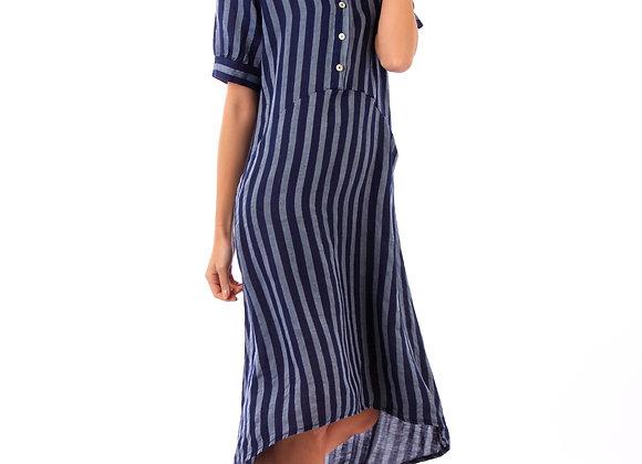 Pantalon lin long, ceinturé sous passants, poches latérales, pailletées sur les bords.
