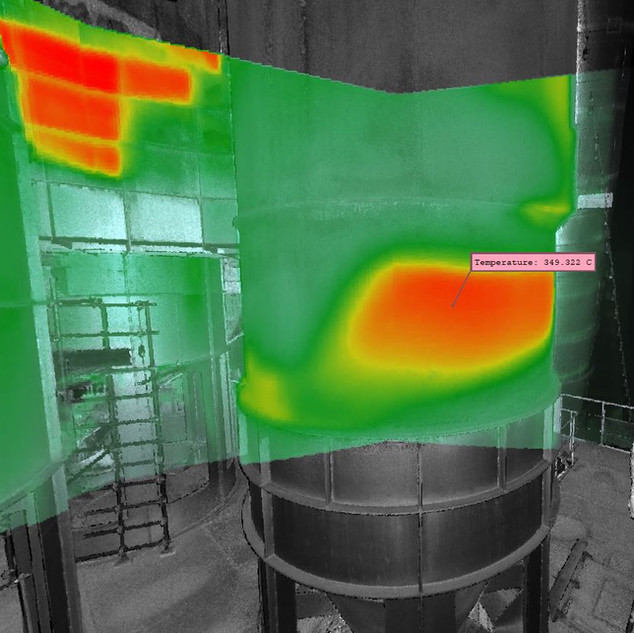 3D thermal in preheater, Southern Africa. Entire preheater tower assessment in cement plant. Hot Spot cartography.