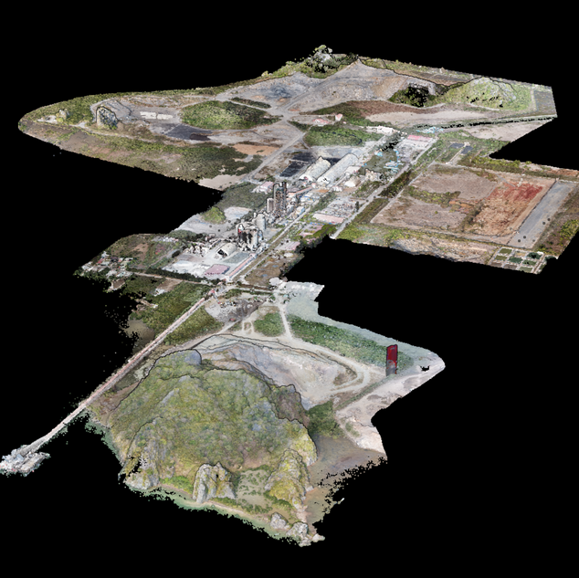 3D cement plant, undisclosed location. 3D by photogrammetry of an entire industrial facility, based on 5,000 drone pictures acquired in grid flight. 3D posted on Amann dedicated 3D website, for access by customer from common laptops and without the need of a specific software.