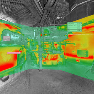 3D thermal measurement, Japan. Combination of Amann Laser Scanning and 3D Thermography. Measurement of shell deformation in preheater tower and determination of hot spots.