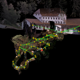 Scanning an entire underground historical site, Switzerland. Acquiring 1 billion 3D points at the historic site of Moulin de Col des Roches, Le Locle, Switzerland.
