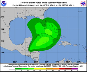 """Depresión tropical """"Eta"""" traerá más lluvias torrenciales en Sureste de México y Península de Yucatán"""