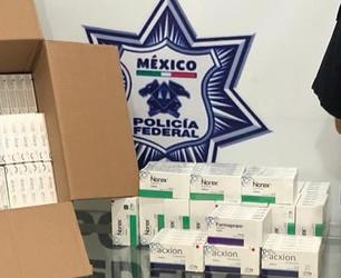 Localiza Policía Federal en empresa de paquetería una caja con seis mil 900 pastillas psicotrópicas