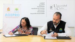 Acuerdan Universidad del Caribe y AGEPRO que estudiantes de licenciatura y Posgrados realicen prácti