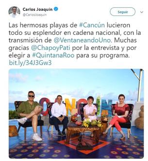 """Delincuencia mantiene a Cancún de rehén; Carlos Joaquín no mueve """"un dedo""""; aparece en programa naci"""