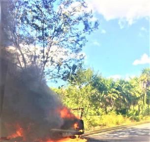 Auto Nissan choca contra camellón y se incendia.