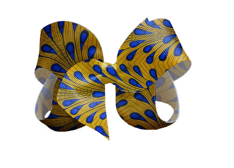 Boutique Bow Blue Drops on Yellow