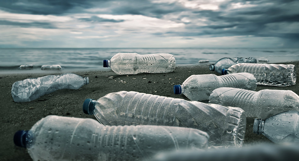 Plastic water bottles pollution in ocean