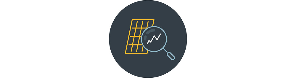 A navy blue circle with a drawn graphic of yellow solar panels with a light blue magnifying glass looking at one of the solar cells. A white zig-zag can be seen in the magnifying glass.