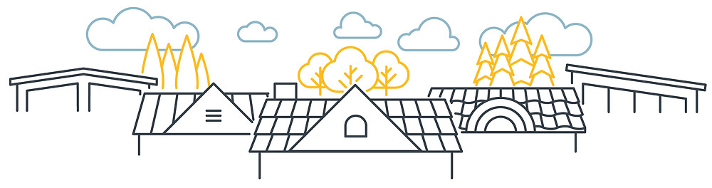 Simple lined illustration with white background featuring different roof types against a backdrop of simple clouds. From left to right, an a-frame roof, two roofs with pointed tops, shingles, and a slanted roof.