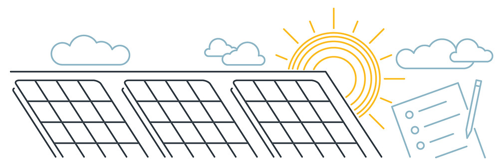Solar panels on a roof with a sun and clouds in the background, juxtaposed with a checklist and a pencil.