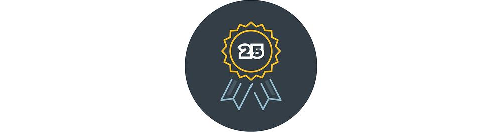 """A ribbon that reads """"25"""""""