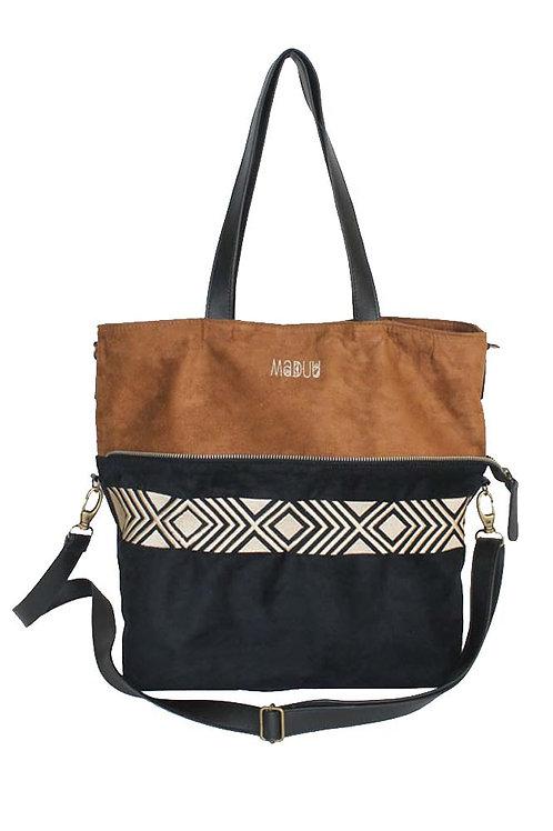 Maya Tote Bag Black and Caramel