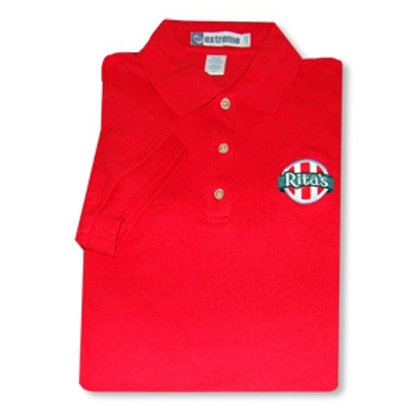 LADIES RED SHORT SLEEVE POLO