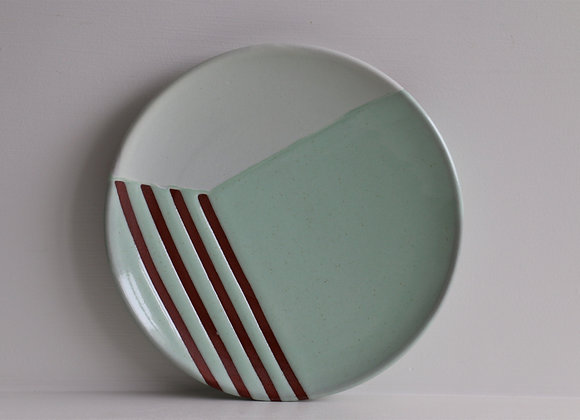 Mint green striped lunch plate