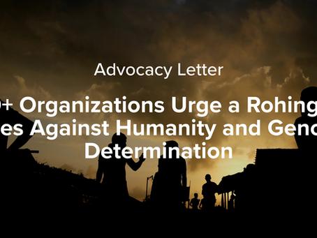 Organizations Urge Rohingya Genocide Determination