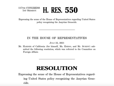 API Welcomes Assyrian Genocide Resolution