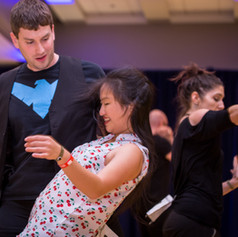 Kyle LaPatin and Helen Chao dancing West Coast Swing at Swingin' New England