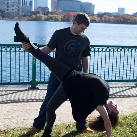 Kyle LaPatin and Elizabeth Lloyd dancing West Coast Swing in Boston, MA.