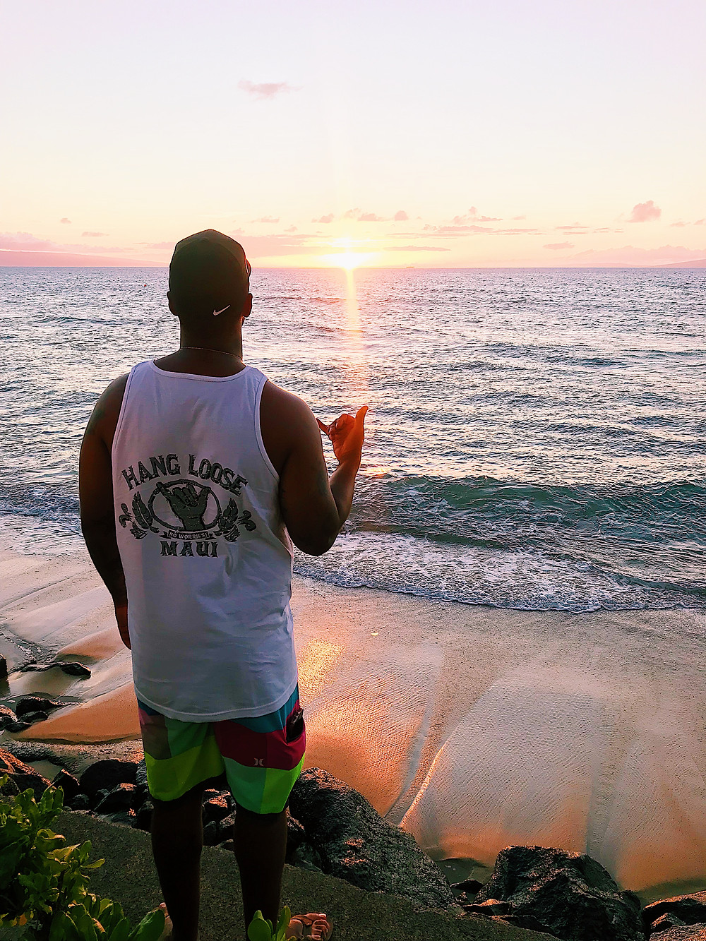 sunset on beach in Maui