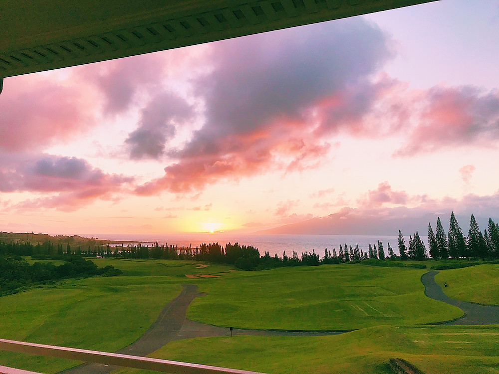 sunset in Maui golf course