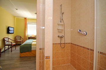 Shower and twin room