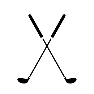crossed-golf-clubs-icon-logo-flat-vector
