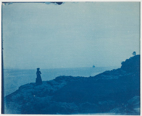 """""""Woman_Watching_Schooner_from_a_Rocky_Promontory""""_(late_19th–early_20th).jpg"""