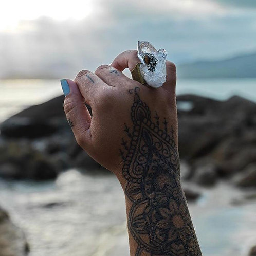 Anel Pedra Bruta + Inlay