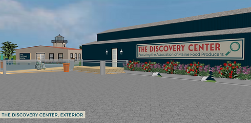 "Architectural rendering of a long blue single-story building with a ramp leading to the door and a sign reading ""The Discovery Center, Featuring the Association of Maine Food Producers"""